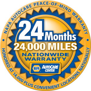 NAPA 24 month 24000 mile nationwide warranty